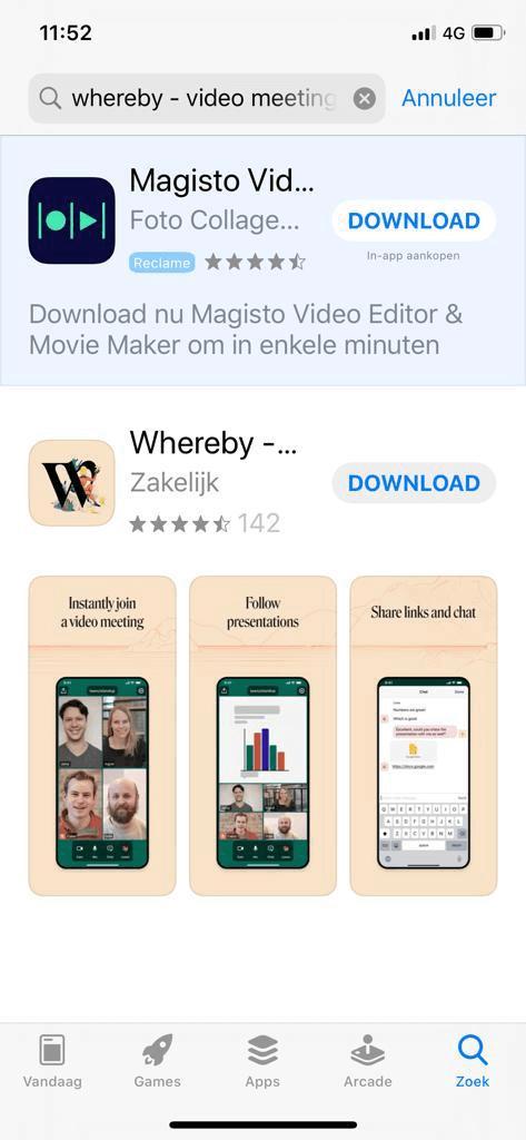 Whereby in de app store